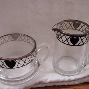 Heisey silver overlay sugar and creamer with painted hearts on rim sweet!
