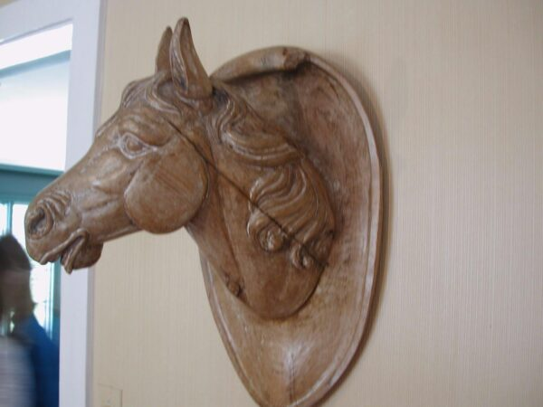 Horse Head carved three dimensional wall hanging pickled maple finished