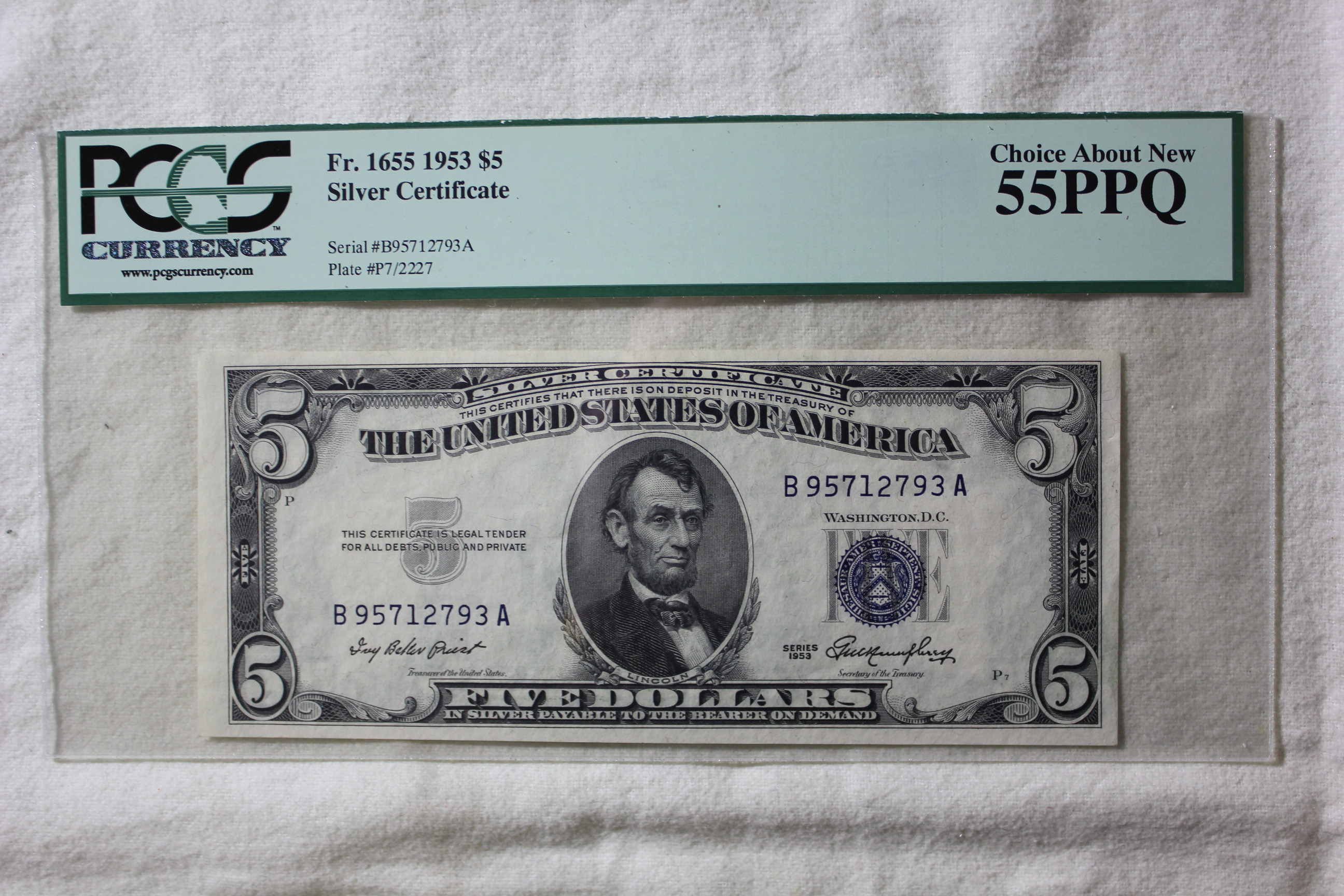 1953 Five Dollar Silver Certificate Fr Bellport Jewelers