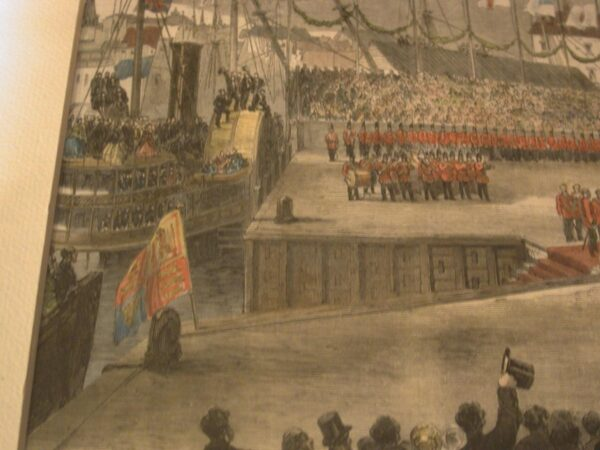 Illustrated London News 1860 Prince of Wales Landing at St. John wood engraving