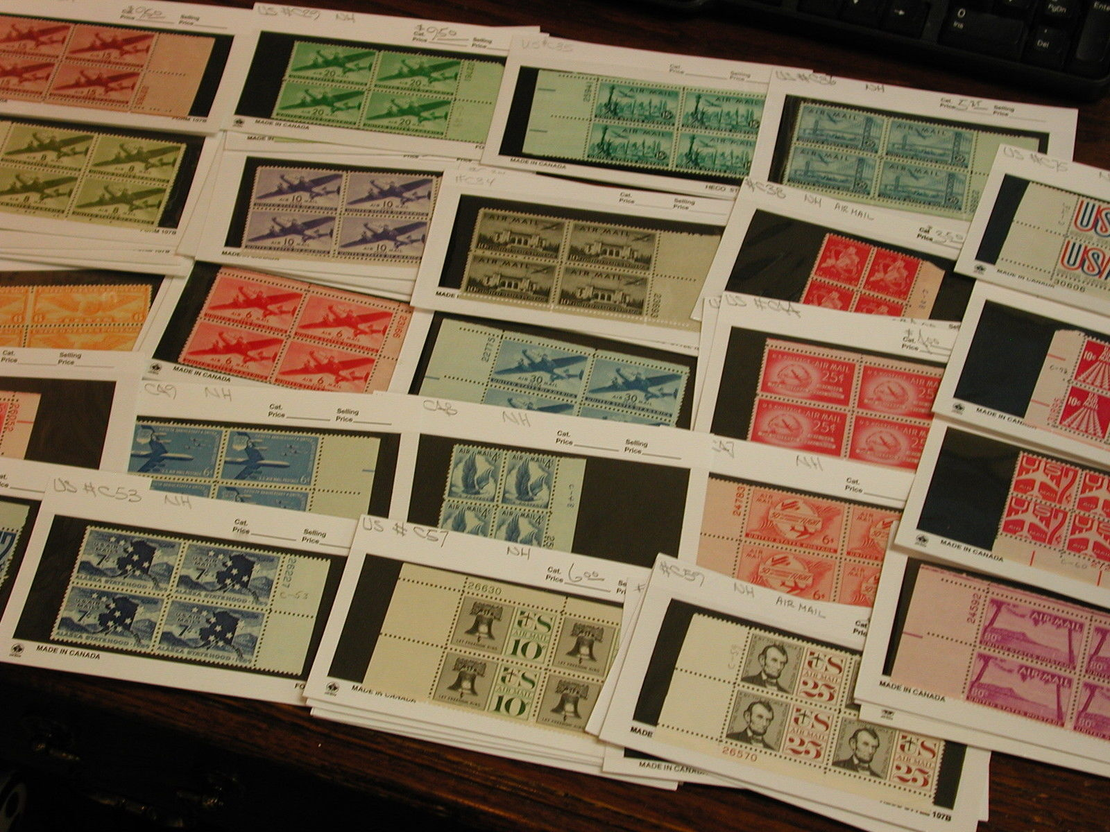 Air Mail US Dealers Stock Plates Blocks Mostly NH Cat Value 300