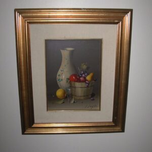 Salvatore Langella Still life 13 x 16 original oil fruit in basket cream vase