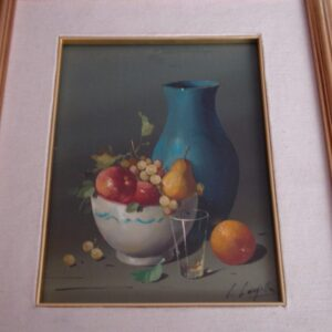 Salvatore Langella Still life 13 x 16 original oil fruit with blue vase