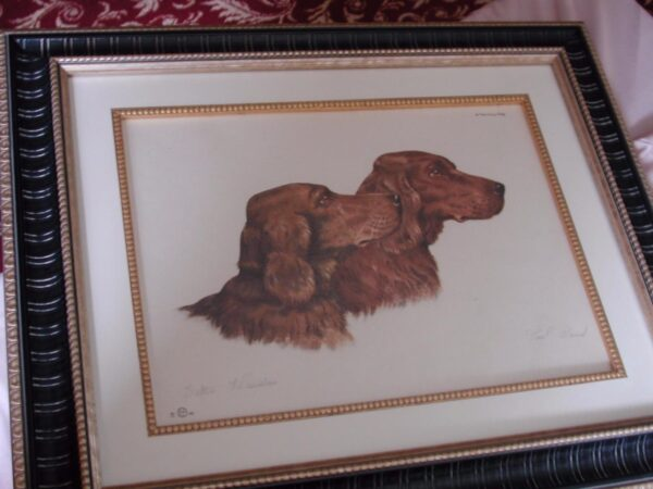 Setters Paul Wood pencil signed Paris Etching Society 1930s matted framed 18x22