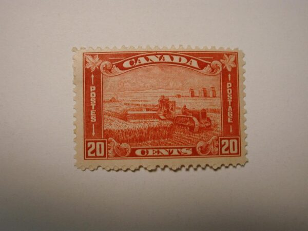 Stamps Canada #175 20 Cent - Brown Red hinged - Harvesting Wheat of 1930