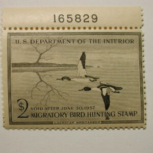U.S. 1956 Duck Stamp #RW23-HP23 $2 Black Mint NH With Plate #165829 on Top Gr...