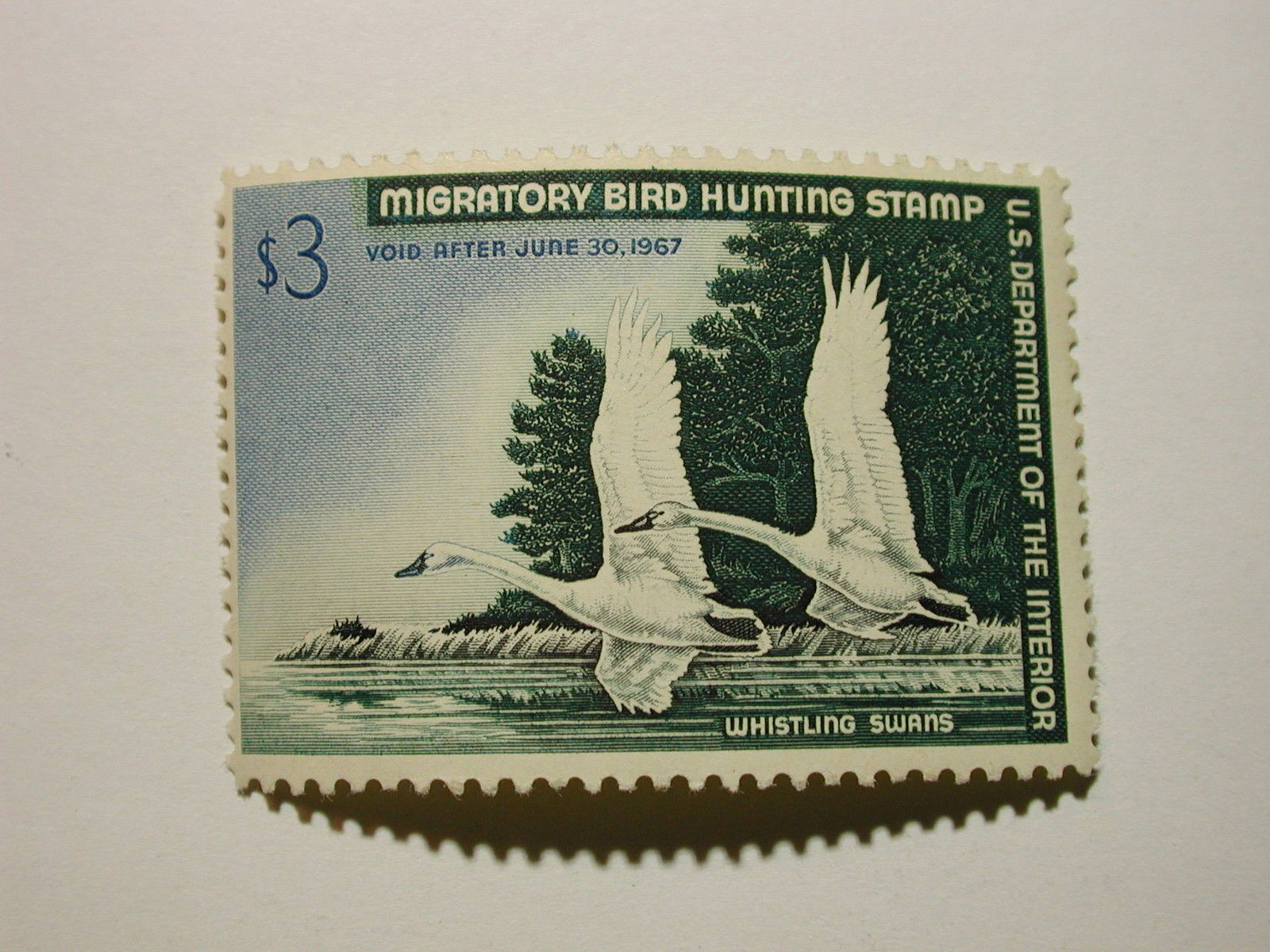 U.S. Duck Stamp #RW33 $3 Mint NH Very Good Color No Gum Skips