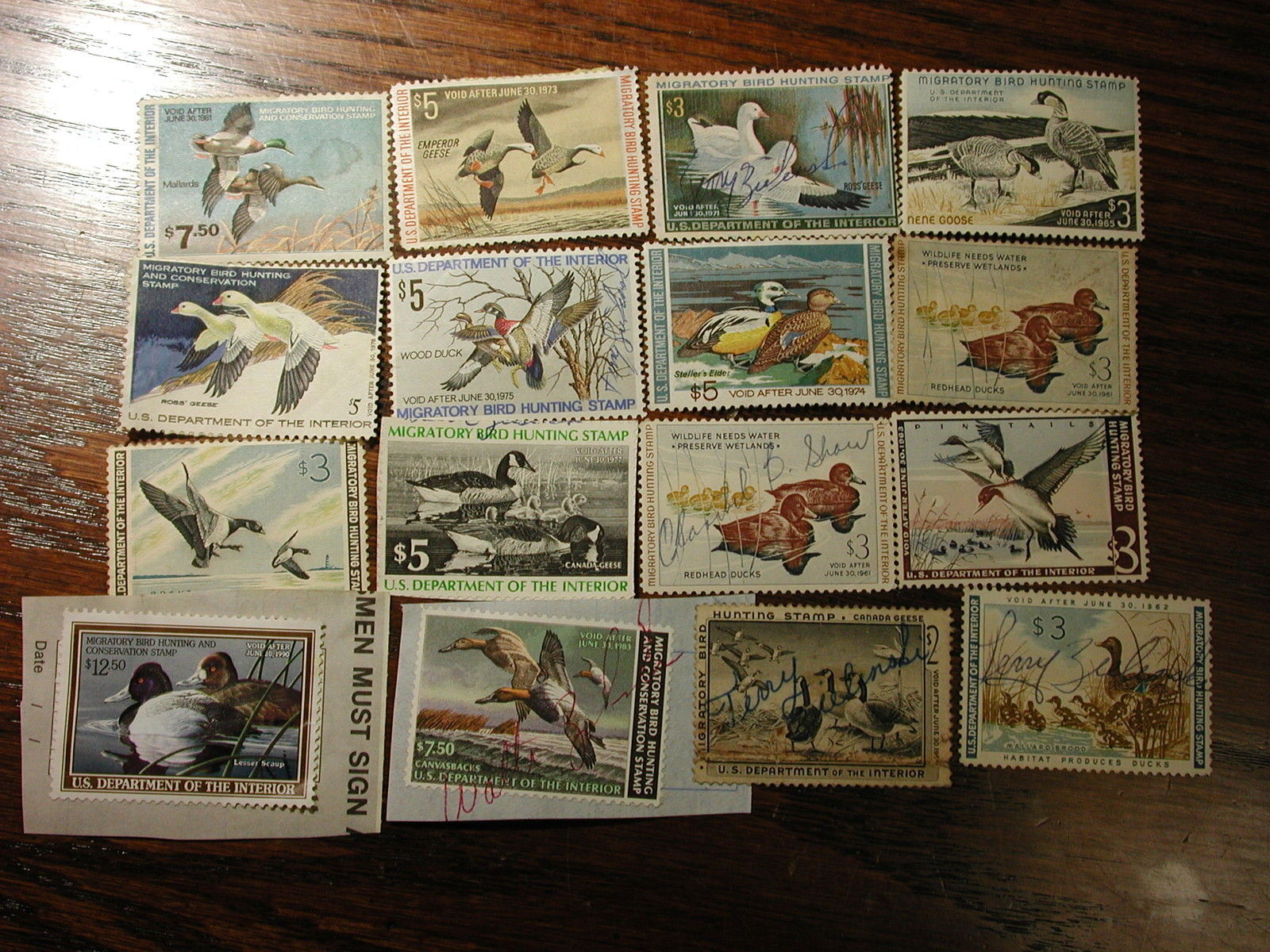 U.S. Duck Stamps Mixed lot of 16 Used Stamps Good & Clean