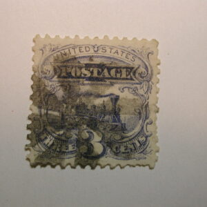 U.S. Scott #114 3 Cent Pictorial Issue Locomotive 1869, Geometric Cancel, used
