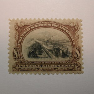 U.S. Scott #298 Eight Cent Canal Locks at Sault De Ste. Marie 1901, Lightly H...