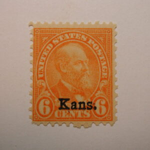 US Scott #664 6 Cent Orange 1929 Kans Ovpt. NH/OG Stamp