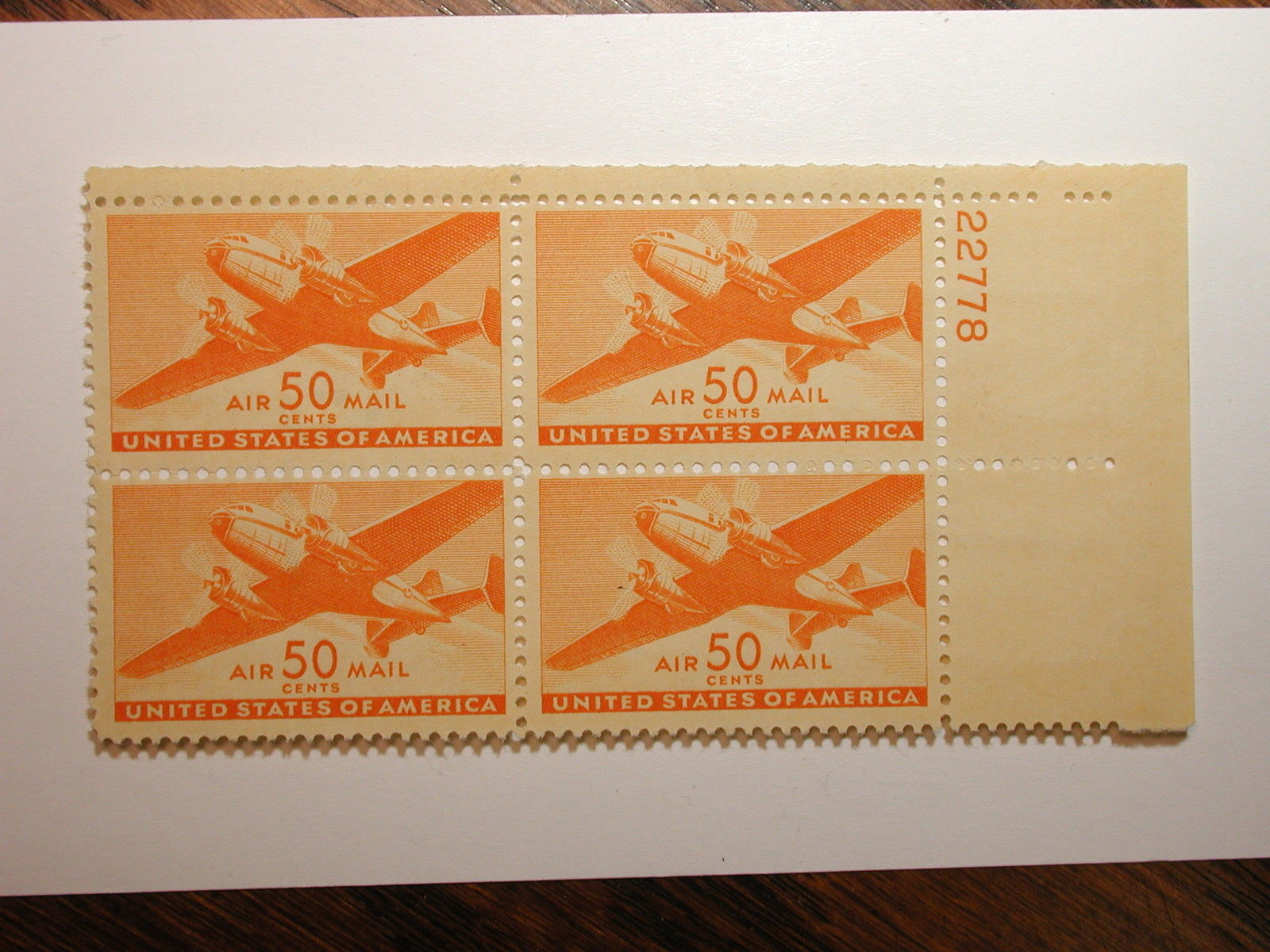 US Scott #C31 50 Cent OG NH Plate Block of 4 Airmail Stamps, Small Thins