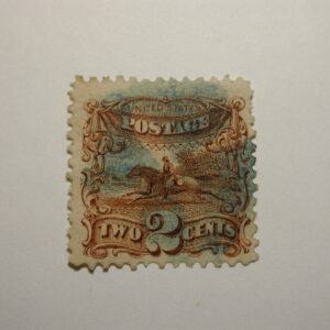 US Stamp Scott #113 Pictorial Issue 1869 2 Cent, Blue Fancy Cancel, Good Colo...