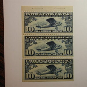 US Stamps # C10 10c Air Mail NH triple Booklet Pane Mint