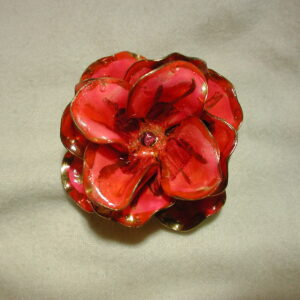 Vintage Vendome Pink/Rose Enamel Flower Brooch 1960's Signed