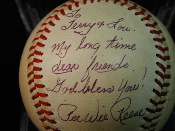 Pee Wee Reese Billy Martin signed Baseball Certified PSA Personalized