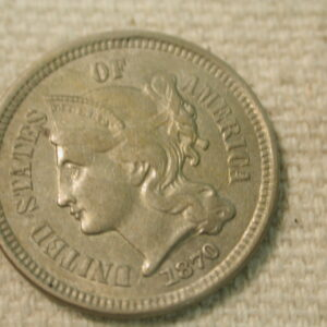 1870 U.S 3 Cent Nickel Doubling on U.S of America About Uncirculated