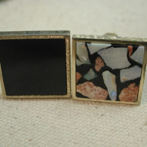 Sterling Gold Vermeil Square Onyx & Mosaic Mismatched Retro Art Cufflinks