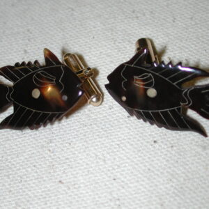 Fish cufflinks - carved etched faux shell - Gold Filled