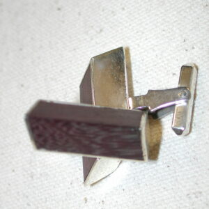 Vintage Sterling & Dark Wood Architectural Rhombus Cufflinks