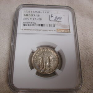 1928 S Small S 25C NGC AU Details OBV