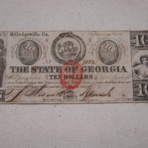 1863 Confederate Georgia Ten Dollars Extra Fine red bullet seal