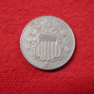 1872 U.S shield Nickel type 5 cent  AU About Uncirculated