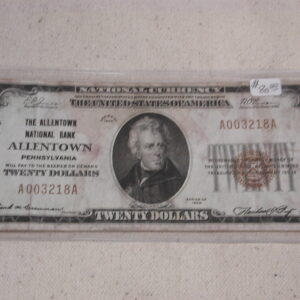 1929 $20 Allentown National Note FR 1802-1 Charter 1322 Low serial