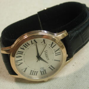 Stauer Rose tone Stainless Steel 38mm Watch with Black Strap