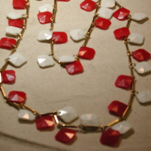 "Dramatic 1960's Long 54"" Red & White dangling Square Octagonal Plastic & Goldtone Necklace"