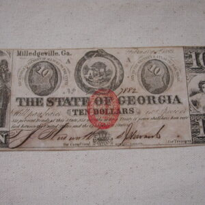 1863 Confederate Georgia Ten Dollars Bullet Seal Extra Fine Milledgeville