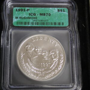 1991-P  Mt Rushmore Commemorative MS70 ICG