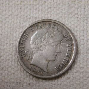 1897 U.S Barber Dime About Uncirculated