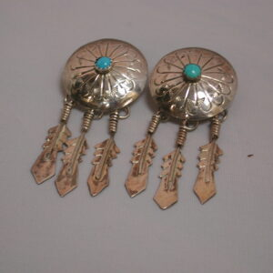 Long Turquoise Feather Disc dangling earrings 2 1/4""