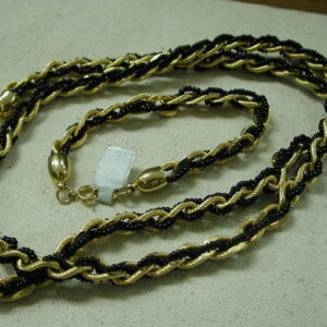 Trifari Twist Black and Gold Necklace 28 inches w Bracelet