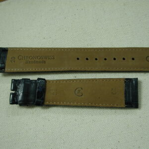 Chronoswiss Handmade Alligator watchstraps 20mm lug-18mm at buckle Navy Blue LONG