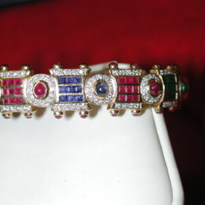 14KT  5 carats+ Multi bangle Ruby Emerald Diamond Sapphire