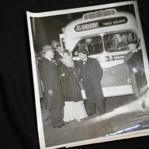 "New York City historical photo First Broadway Bus instead of trolley Janis Paigo ""Miss Times Square"""