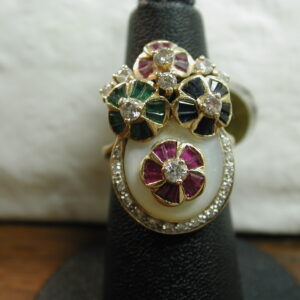 18KT Diamond Ruby Sapphire Emerald MOP Flower 2.80 Carats gemstones