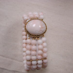 "14KT Peach and White Coral bead 1"" wide Cuff Bracelet 7 1/2"