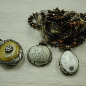 Amber Tiibetan silver repousse Pendants set of 3 - Stone and butterscotch Amber