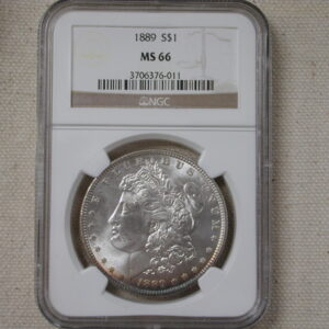 1889 Morgan Dollar NGC MS66 bright white with toned rim