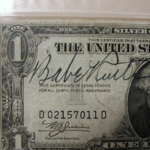 Babe Ruth PSA 8.5 signed 1935 Silver Certificate with NY Football great Ken Strong