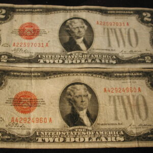 1928 US Two Dollar Red Notes set of 2  Very Good FR#1500