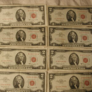 Lot of 16 Red Seals 1953-1963  Two Dollar Red Fine-XF FR. 1509-1514