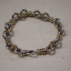 "Christofle .925 two tone heavy chunky 10mm link 7"" long"