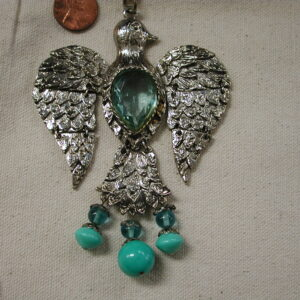 Eagle HUGE Pendant Aquamarine body Turquoise Beads 3 x 4 inches