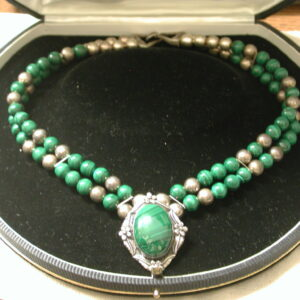 "Malachite Sterling 17"" necklace 7mm beads and oval centerpiece"
