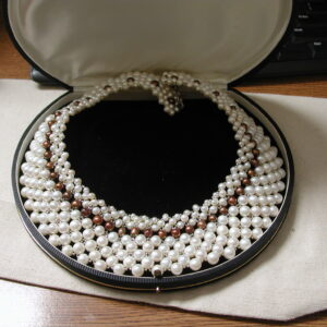 "Hand Woven Pearl Collar 18"" white and copper pearls 2""' wide sterling silver"