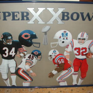 Superbowl XX 1986 Chicago Bears vs New England Patriots original Jeff Sellers art